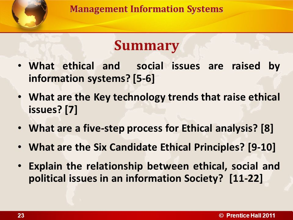 Summary What ethical and social issues are raised by information systems [5-6]